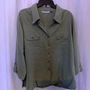 Women's green 2X Dressbarn button up  shirt